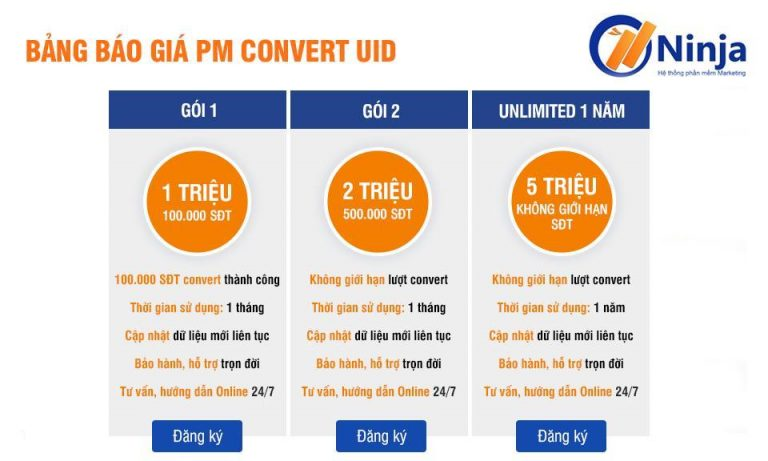 bảng giá ninja convert uid to phone
