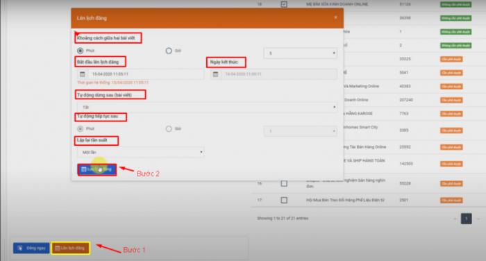 Thiết lập cấu hình lên lịch đăng bài tự động